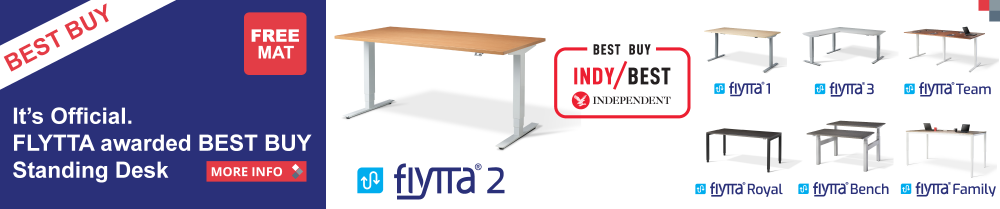 Its Official Best Standing desk! Our new FLYTTA® awarded Best Buy by Independent Newspaper